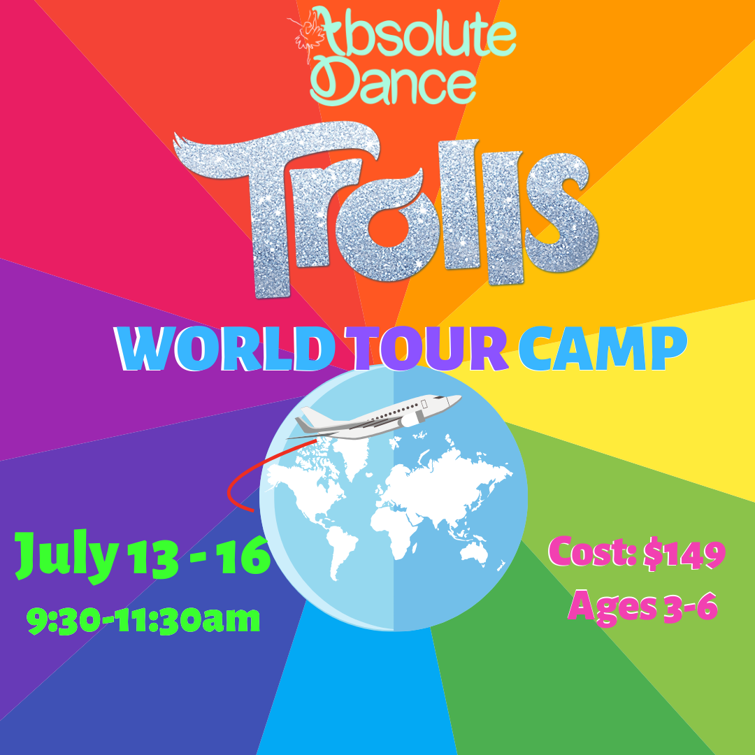 We're super PUMPED to annouNow Announcing - - -Trolls World Tour! This camp is open to students ages 3-6 with or without prior dance experience. It will feature crafts, snacks, and lots of dancing (including music from the upcoming Trolls World Tour movie!). Get ready for a fun, incredibly upbeat camp concluding with Ice Cream and an out of this world performance for family and friends!